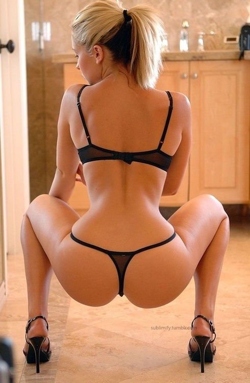 ass back blond lingerie